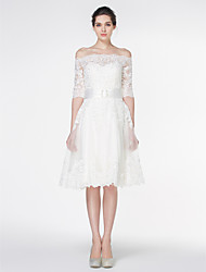 Lanting Bride® A-line Wedding Dress Knee-length Off-the-shoulder Lace with Lace