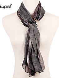 D Exceed Women Ployester Gradient Color Scarves Pendant Scarf New Fashion Grey Chiffon Muffler With Black Pearl