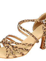 Latin Women's Dance Shoes Sandals Satin Stiletto Heel Leopard