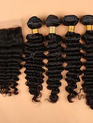 Trama do cabelo com Encerramento Cabelo Peruviano Onda Profunda tece cabelo