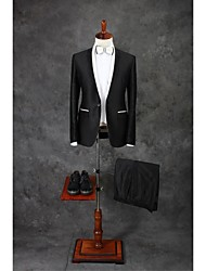 Suits Tailored Fit Slim Notch Single Breasted One-button Cotton Blend Solid 2 Pieces Black