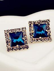 Brincos Curtos Moda Jóias de Luxo Gema Strass Liga Quadrado Forma Geométrica Cor Ecrã Jóias Para 2pçs
