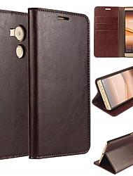 Pour Coque Huawei Mate 8 Portefeuille Porte Carte Avec Support Clapet Coque Coque Intégrale Coque Couleur Pleine Dur Vrai Cuir pour Huawei