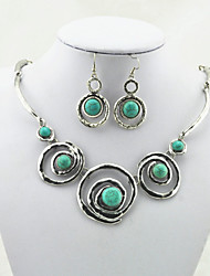 Vintage Antique Silver  Alloy Round Turquoise Stone Necklace Earring Jewelry Set(1Set)