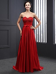 Formal Evening Dress A-line Strapless Sweep / Brush Train Charmeuse with Beading