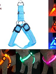 Cat / Dog Harness Reflective / LED Lights / Adjustable/Retractable Red / Green / Blue / Pink / Yellow / Orange / Rainbow Textile