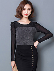 Spring Fashion Women Slim Was Thin Gauze Splicing Round Neck Long Sleeve Black Bottoming Shirt