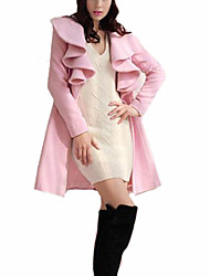 Women's Solid Pink / Red Coat , Casual Long Sleeve Fur / Polyester