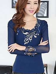 Women's Solid Blue / Black Blouse , Round Neck Long Sleeve