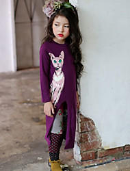 Girl's Spring / Fall Cotton Sequin Long Sleeveed The Printed Cartoon Kitten Dress