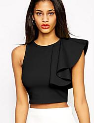 Women's Summer Vogue New Round Ruffle Solid Short T-shirt