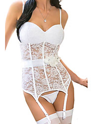 Women's White Elastic Lace Bustier with Garter Belt