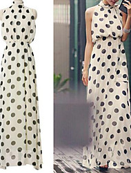 Women's Polka Dot White Dress, Party/Maxi Stand Collar Bow Back Sleeveless