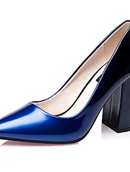 Women's Shoes Leatherette Chunky Heel Heels Heels Wedding / Dress Blue / Purple / Red / Burgundy