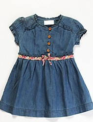 Girl's Blue Dress,Bow Cotton Summer