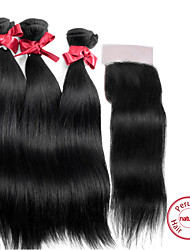 Волосы Уток с закрытием Перуанские волосы Прямые 12 месяцев волосы ткет