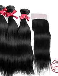 "EVET Virgin Hair Weft Straight Human Hair Weave Bundles With Peruvian Hair 4""x4"" Lace Closure"
