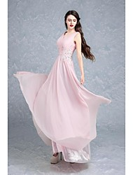 Formal Evening Dress - Candy Pink Ball Gown V-neck Floor-length Chiffon