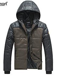 Lesmart Hombre Escote Chino Manga Larga Abajo y abrigos esquimales Caqui - PX13176