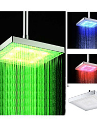 8 Inch  Chrome  Temperature Control Heat Sensor Colorful  LED Shower Head Rain Shower