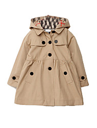 Girl's Korean Style Plaid Lining Hooded Fashion Trench Coats