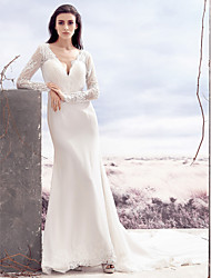 Lanting Trumpet/Mermaid Wedding Dress - Ivory Chapel Train V-neck Lace / Satin Chiffon
