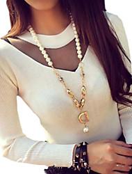 gaze emendados casuais rodada colar pullover camisola das mulheres (mais cores)
