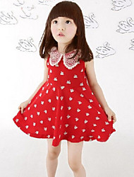 Girl's Blue / Red Dress,Lace Cotton Summer
