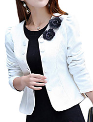 Women's Casual/Daily Work Sophisticated Spring Fall Blazer,Solid Round Neck Long Sleeve Short