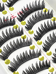 10 Pairs Natural Black False Eyelashes Long Fake Lashes Individual Lash Luster High Quality Cotton Strip Lash