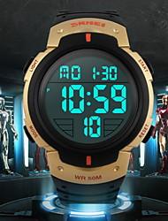 SKMEI Hommes Montre de Sport Montre Bracelet LCD Calendrier Chronographe Etanche penggera Montre de Sport Numérique Caoutchouc Bande Noir