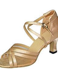 Chaussures de danse ( Noir / Marron / Autre ) - Non Personnalisables - Talon Bottier - Satin / Similicuir -Latine / Salsa / Samba /