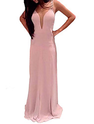 Women's Solid Pink Dress, Party/Sexy/Maxi Deep V Sleeveless Sequins/Backless