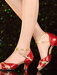 Non Customizable Women's Dance Shoes Leather / Patent Leather Leather / Patent Leather Latin Heels Cuban HeelPractice / Beginner /