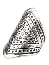 Retro Personality Exaggerated Style  Carved Alloy Diamond Finger Couple Ring