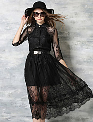 De las mujeres Línea A / Pequeño Negro Vestido Fiesta / Para Trabajo Midi Escote Chino Otro