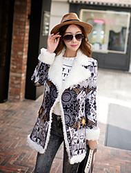 DABUWAWA 2015 Women's Winter Slim Fur Collar Print Gray Coat , Casual Long Sleeve Polyester / Spandex