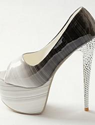 Women's Shoes Leatherette Stiletto Heel Heels / Peep Toe / Platform Sandals Party & Evening / Dress Black / Yellow
