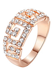 HKTC Fashion Brand Desinger 18k Rose Gold Plated Clear Crystal Paved Finger Ring for Women