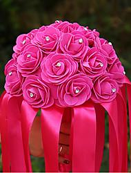 Hochzeitsblumen Rundförmig Rosen Sträuße Hochzeit Satin Elastischer Satin ca.22cm