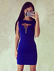 Women's Hot Sale Solid Sexy Party Slim All Match Round Neck Sleeveless Dress
