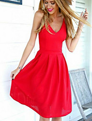 Damen Kleid - A-Linie Sexy / Party Solide Knielang Baumwolle / Polyester V-Ausschnitt