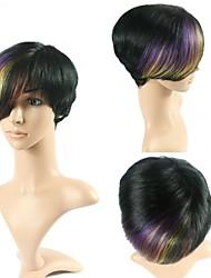 100% Real Human Hair Cheap Brazilian Wigs 1B/Purple Omber Glueless Wigs Hair Short Straight  None Lace Bob Wig