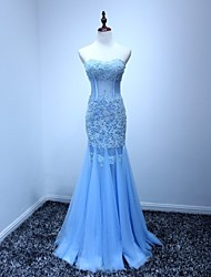 Mermaid / Trumpet Sweetheart Floor Length Tulle Prom Formal Evening Dress with Beading Appliques by Weishang