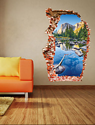 3D Wall Stickers Wall Decals Style Colorful Pool Mountain Scenery Removable PVC Wall Stickers