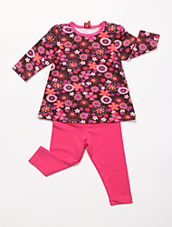 Girl's Floral Clothing Set,Cotton All Seasons Red