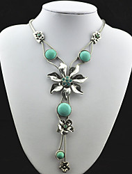 Vintage Look Antique Silver Alloy Round Cz Flower Turquoise Lava Stone Necklace Pendant(1PC)