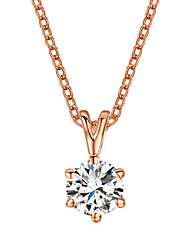 Concise 18k Rose Gold Plated with 6 Prongs 7mm 1.5ct CZ Stone Pendant Necklace