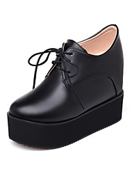 Women's Heels Formal Shoes Leatherette Spring Summer Birthday Office/Career Vacation Date Lace-up Wedge Heel Black White 5in & over