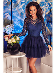 Women's  Navy Lace Tulle Babydoll Skater Dress